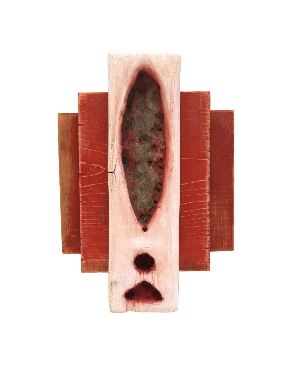"Yonivision (Incense Holder for Ritual) , 2017 11"" x 5"" x 3"" mixed media on found wood"