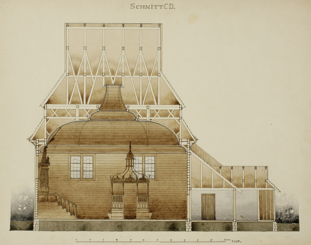 Alois Breier, measured drawing of the Gwozdziec wooden synagogue, collection and copyright of Tel Aviv Museum of Art.