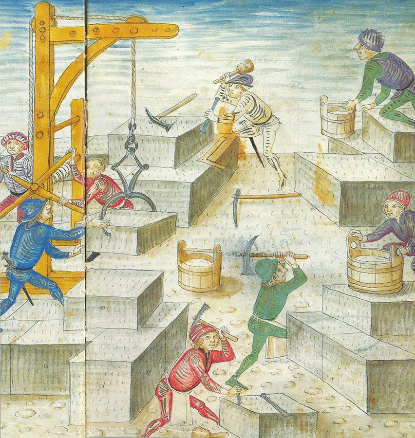 Stavba velkého kostela v Bernu z r. 1420, Diebold Schilling, Bern Chronicle, 1484-5