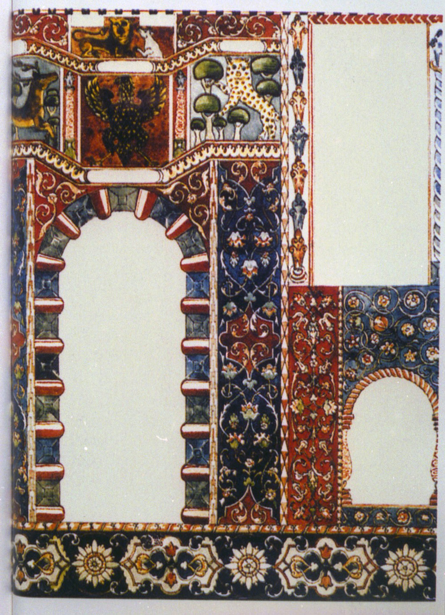 Gwozdziec Synagogue, pre 1914 color study, north wall, Courtesy of Tel Aviv Museum of Art