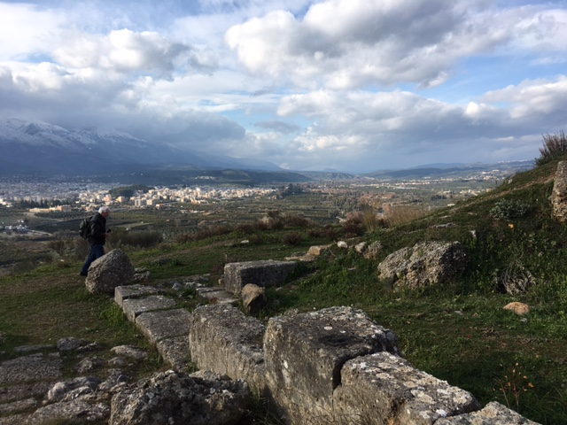 View of Sparta from atop the sanctuary to Menelaus and Helena.