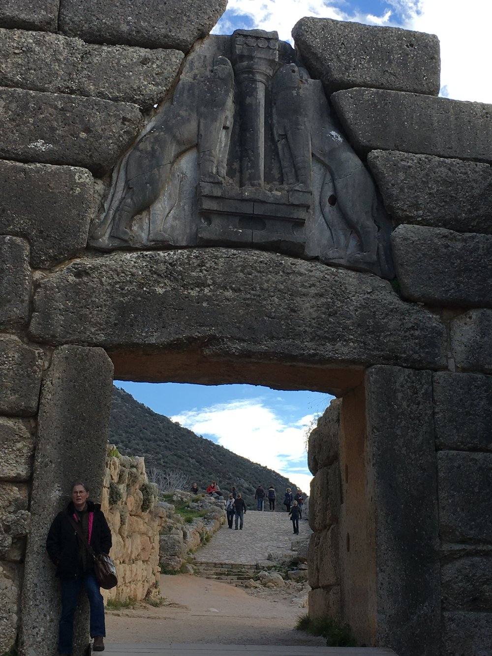 Laura at the Lion Gate—the main entrance of the Bronze Age citadel of Mycenae.