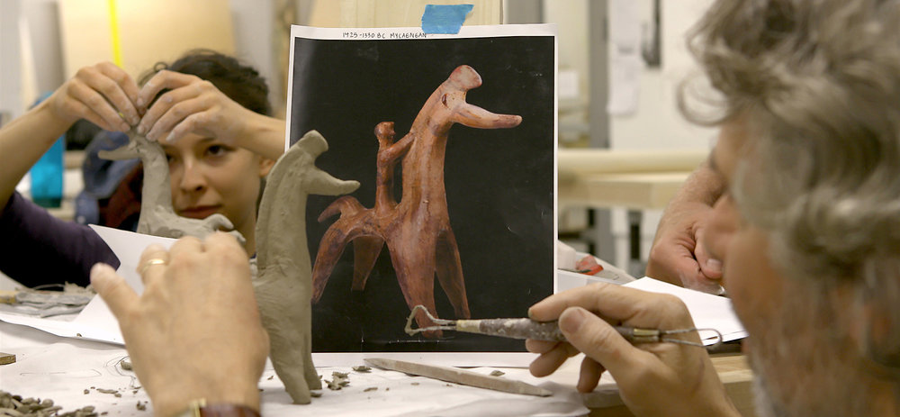 MassArt students, working with instructor Chuck Stigliano, build clay models from images of Greek bronze age horses.