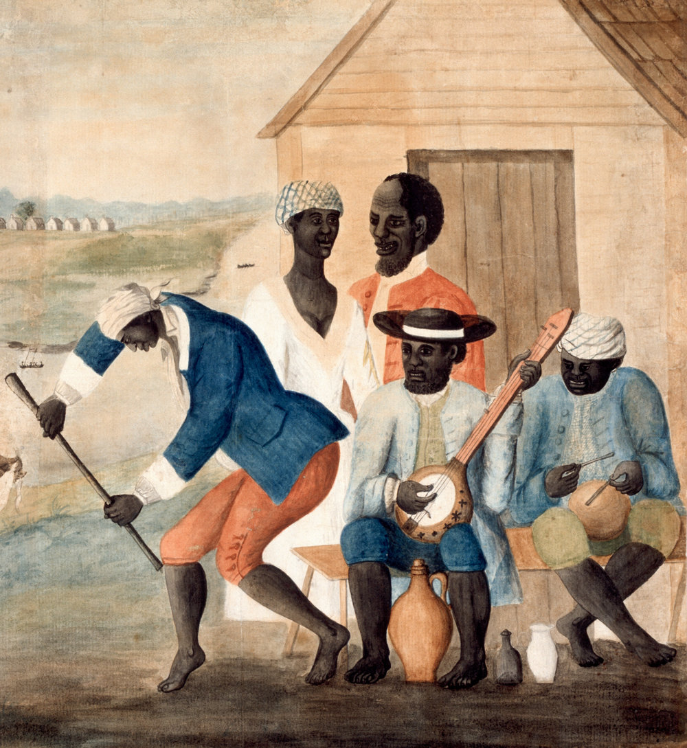 Detail from The Old Plantation, water color attributed to John Rose, Beaufort County, South Carolina,1785 – 1790