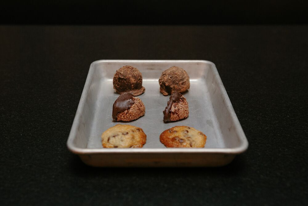 peanut butter truffles. chocolate almond macaroons. smoked chocolate chip cookies