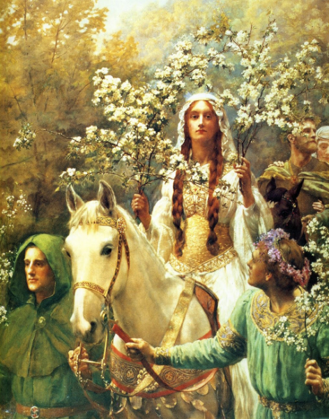 "Queen Guinevere ""Maying"" with her May branches."