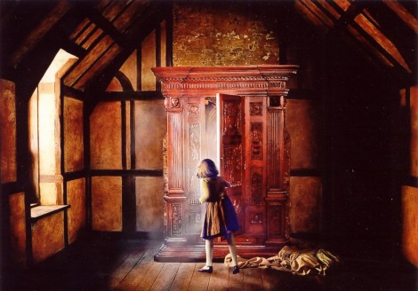 Lucy discovering Narnia in Professor Kirke's wardrobe, made from the wood of a tree from an apple from THE Tree of Narnia, a product of the tree Digory found in the Garden.