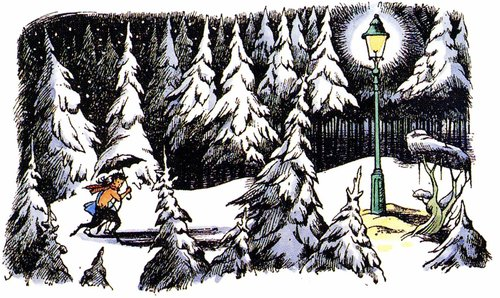 Mr. Tumnus meeting Lucy by the famous Lammpost