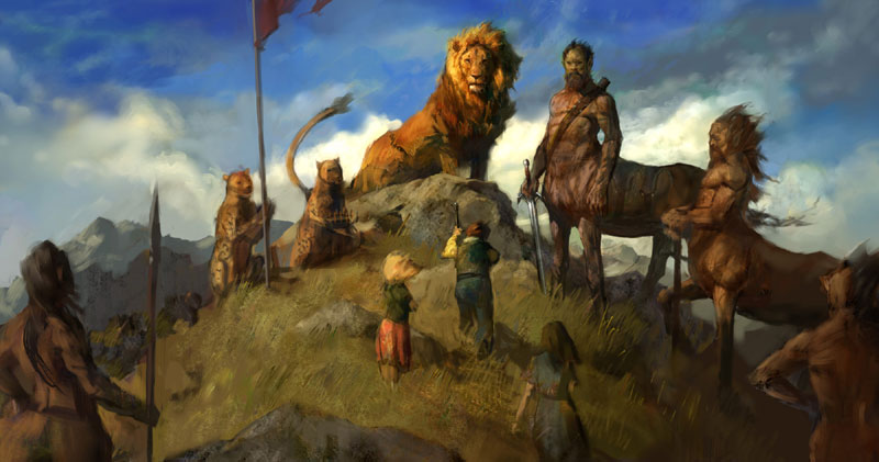 Aslan and His Camp gathering near the Stone Table in preparation for war with the Witch