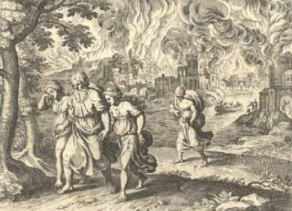 Lot, his daughters, and his wife fleeing the destruction of Sodom