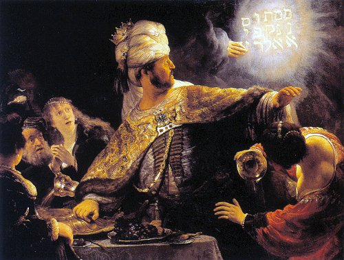 The Finger of God executing judgment on King Nebuchadnezzar's grandson, Belshazzar. That night, Darius of the Medes invaded and overthrew the city.