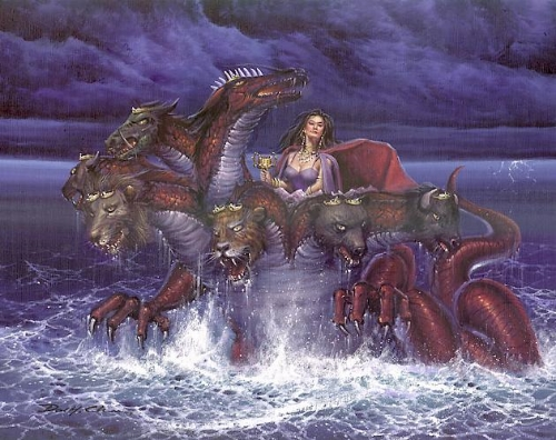 The Whore of Babylon, another, more familiar, woman riding a beast into the sea.