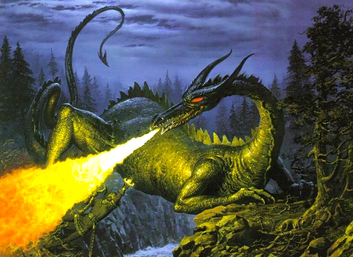 Turin slaying the serpent,  Glaurung.