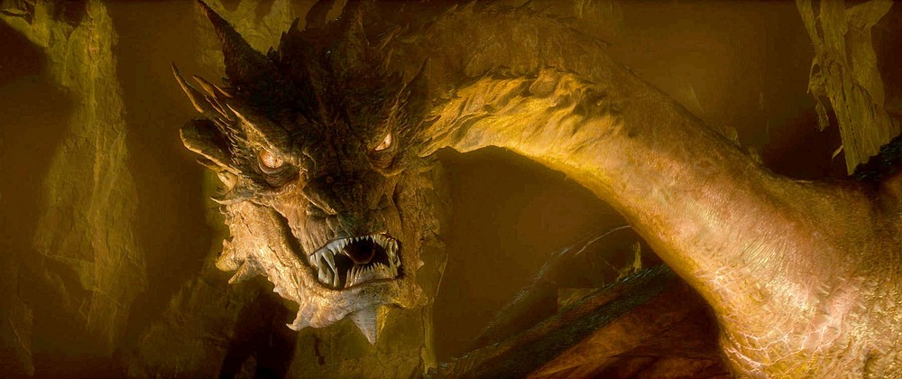 "Smaug (as in ""Desolation of..."") in all of his golden, fiendish, glory."