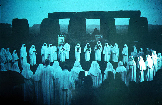 "Modern-day Druids (pagans/neo-pagans) gathering to worship their fallen gods on this ""time between times."""