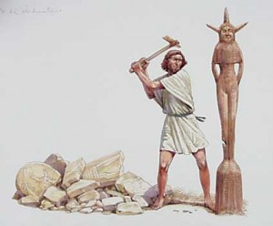 An Asherah pole, representative of Ashtoreth/the Queen of Heaven being righteously destroyed.