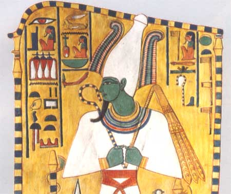 Osiris, the Egyptian god of the dead, so blackish-blue in several depictions because of his infamous death.