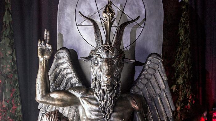 The statue of Baphomet (representative of Satan, the Greek god, Pan, etc.) as seen in Detroit, Michigan. Baphomet is a symbol of Satanism.