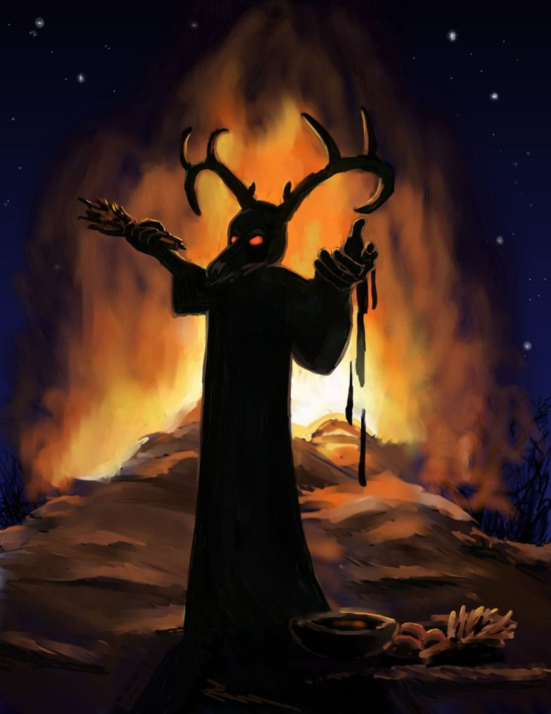 "The Great Horned God also known as ""Baal"" or ""Bel"": the god of fire."