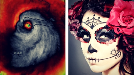 Hurricane Matthew image vs. Day of the Dead Mexican sugar skull makeup rendering. Notice the striking similarities.