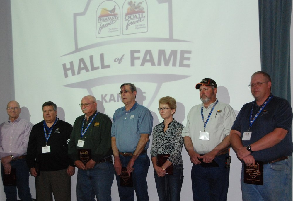 2014 Hall of Fame Inductees (Left to Right) Barth Crouch, Brett Reber, Dick Klaus, Jim Melton,Sue Mann, Heath Hayden, and Shannon Selstedt, (Not Pictured: Bill Brannan and Rick Pauls).