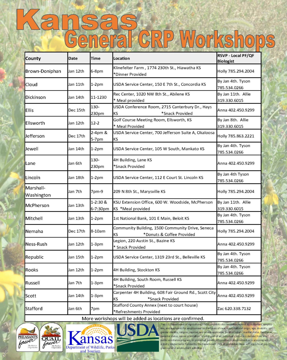 Download in PDF here. Find the nearest CRP Workshop to you and call the respective biologist to RSVP and with any questions. At these workshops you will hear practice options and information how to make the best choices for your farm and wildlife.  CRP Sign-up will take place at FSA offices from Dec. 1, 2015 - Feb. 26, 2016.