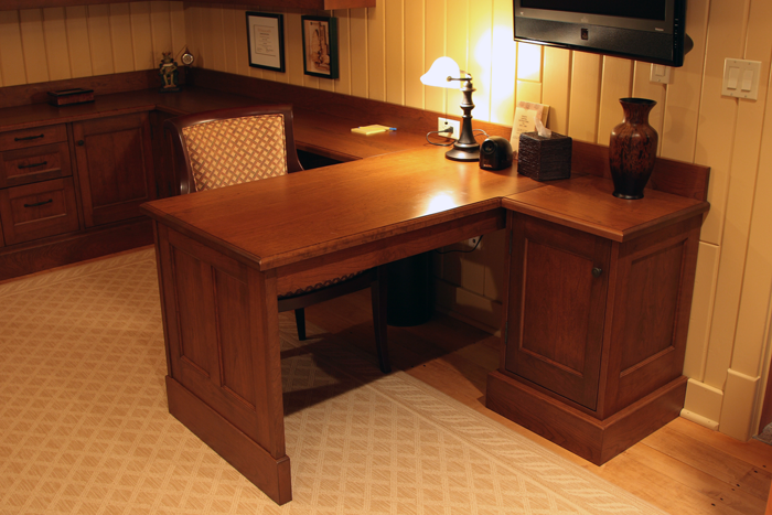 Cherry Office Wraparound Desk
