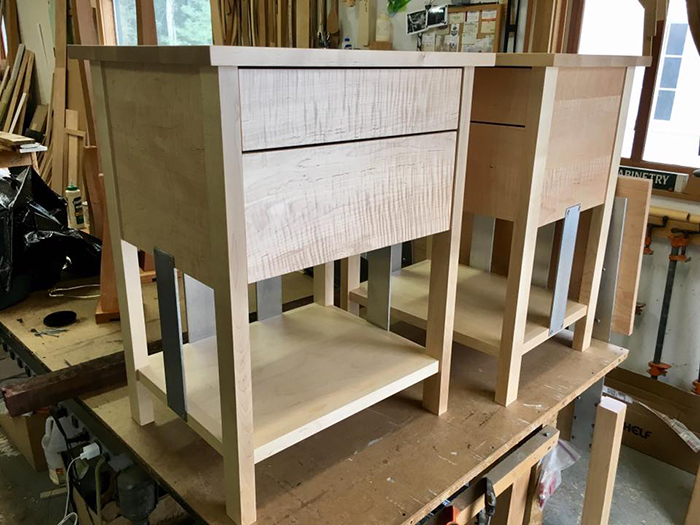 Stainless Steel & Curly Maple Nightstands