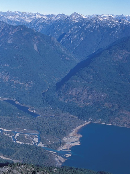 The peaks of the Stein behind Douglas Creek valley (and the head of Harrison Lake).