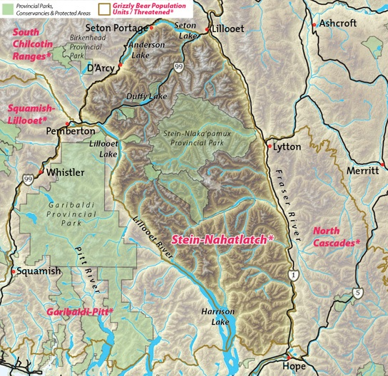 Map of Stein-Nahatlach threatened grizzly bear population unit.