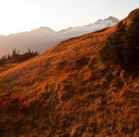 North Cascades at sunset.