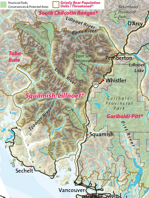 Map of Squamish-Lillooet threatened grizzly bear population unit.