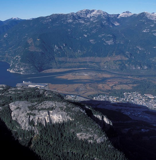 The Squamish River estuary. Squamish-Lillooet population is the most coastal of southwest BC's populations.