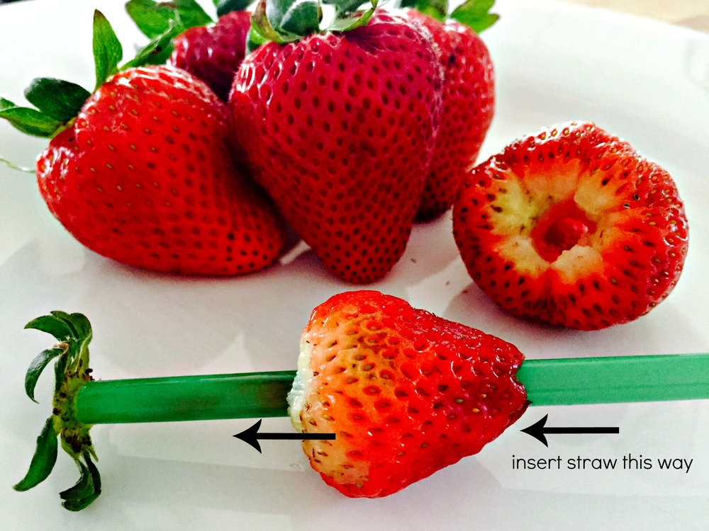 a genius idea of hulling strawberries