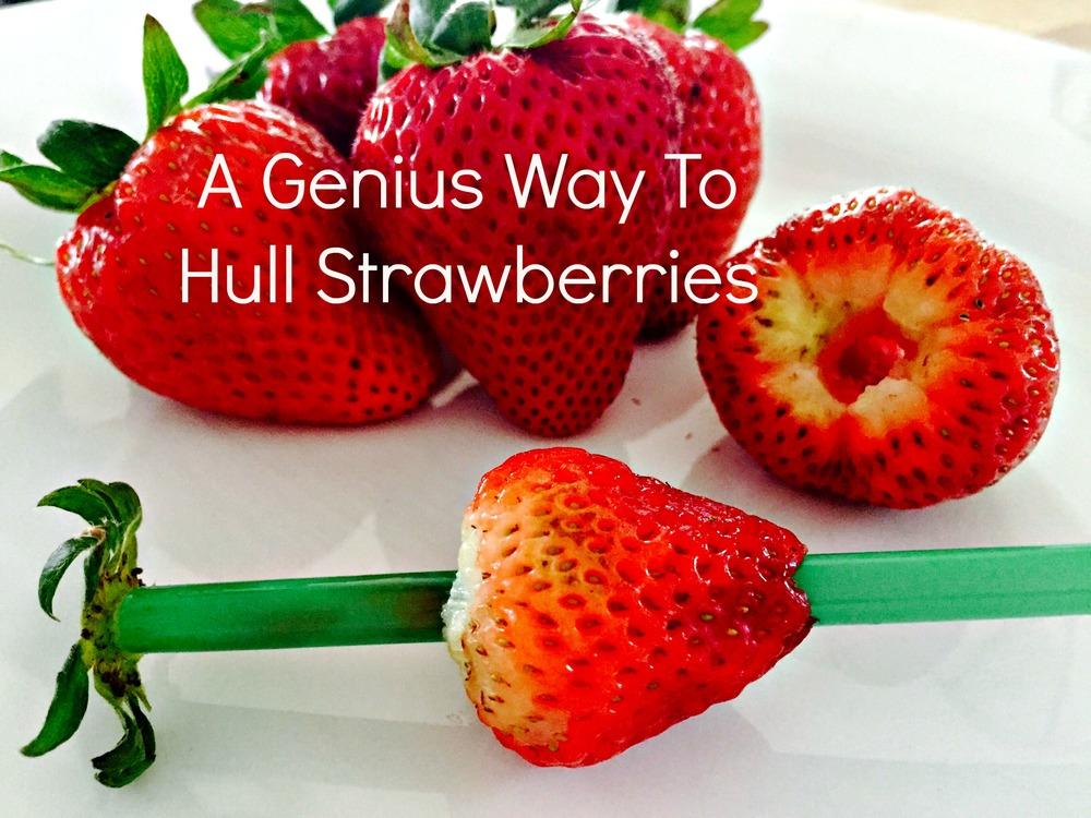 genius way to hull strawberries