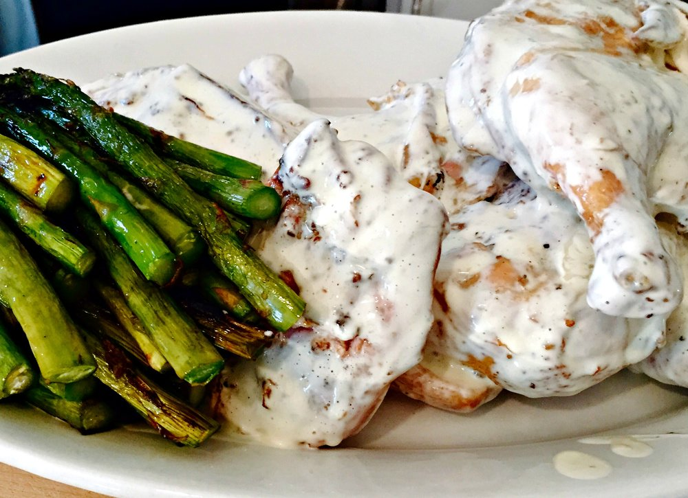 grilled chicken with white BBQ sauce