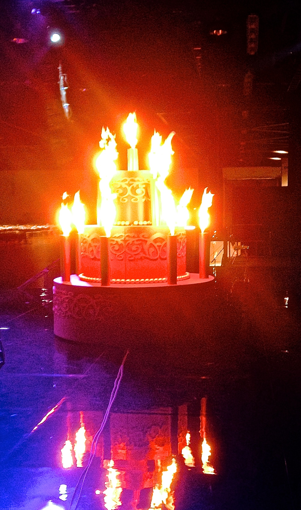 An 8-foot-tall FirePixel birthday cake built for a corporate event in Anaheim, CA.