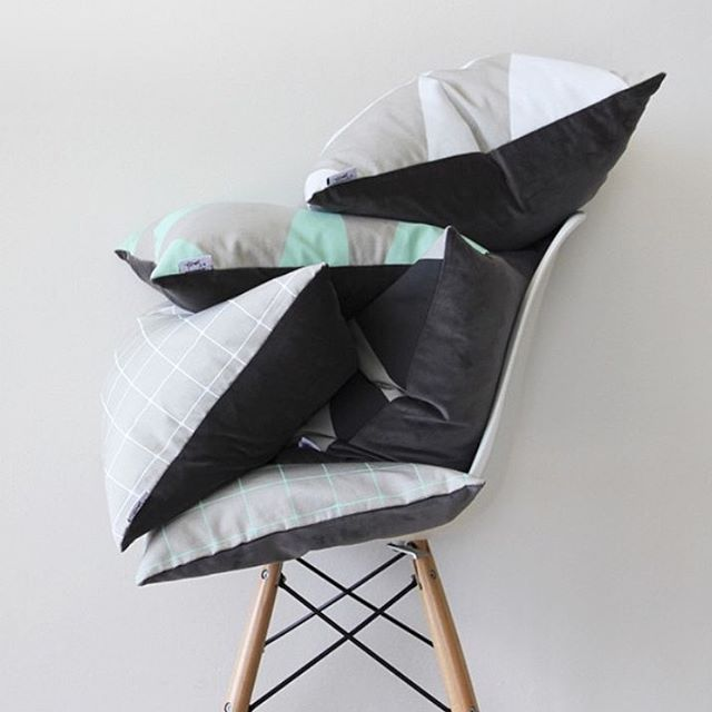 $10 hand-screen printed cushion covers in MINT grid & stripe. There's never been a better time to restyle your couch!