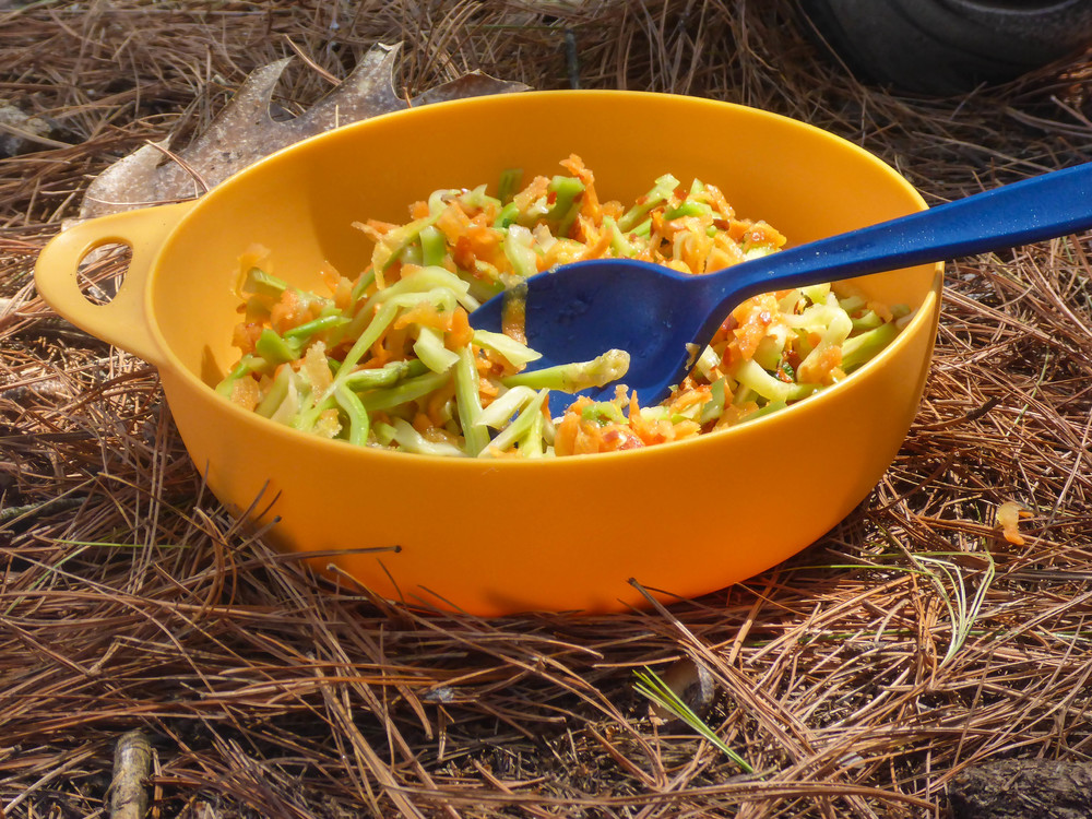 Dehydrated Broccoli Carrot Slaw rehydrates well at camp with the addition of cold water