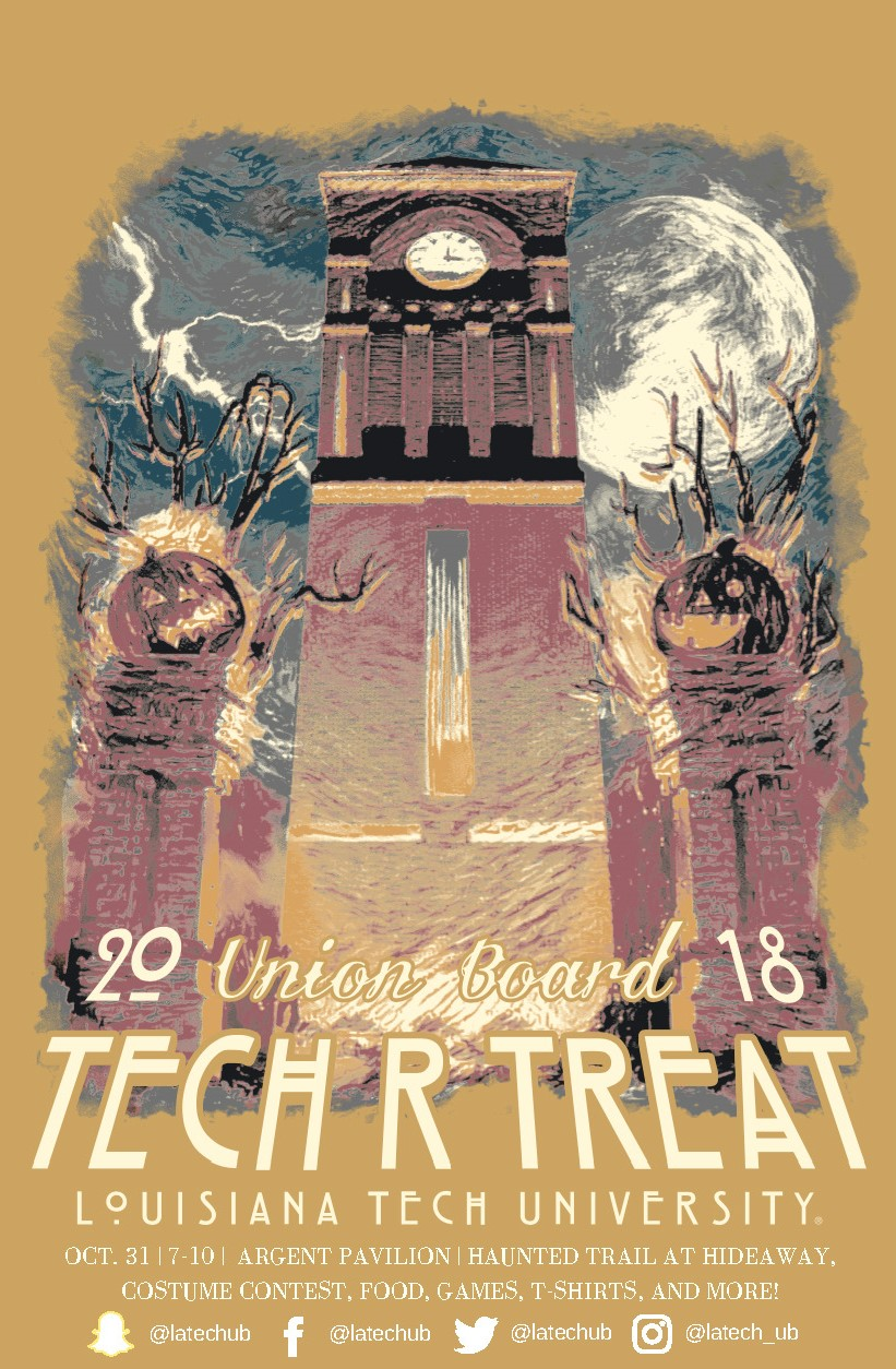 Tech-r-Treat 2018 - Join Union Board on October 31st for our Halloween event, Tech-r-Treat! The festival portion will be at Argent Pavilion by the Joe, and there will also be a haunted trail through Hideaway Park! Many different campus organizations will be participating in the trunk-or-treat portion, and there will be free food, games, and much more!The event is open to all students, faculty, staff, and the general public!