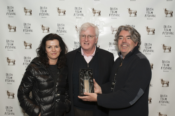 Deirdre O'Kane and  Stephen Bradley receive the Special Jury Prize from Steve Greeley (Director of the American Ireland Fund, New England)