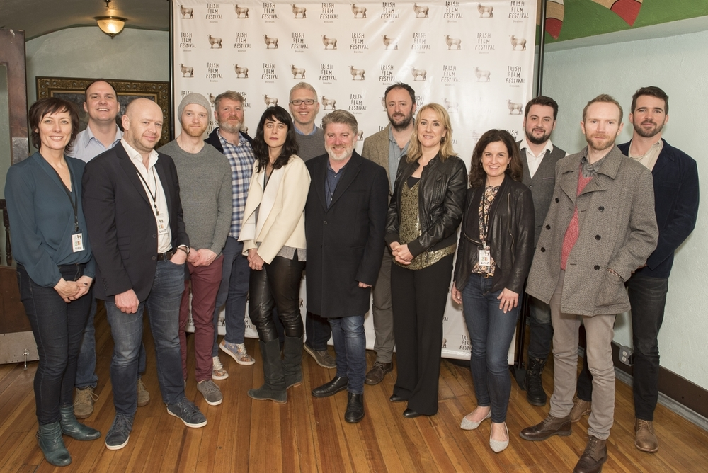 L-R: Dawn Morrissey (Irish Film Festival, Boston) Alex Fegan (Older Than Ireland), Andrew Kavanagh (City of Roses), Shaun O'Connor (Pat), Kev Cahill (More Than God), Simone George (Unbreakable: The Mark Pollock Story), Ross Whitaker (Unbreakable:The Mark Pollock Story), Pat Shortt (Garage), Gary Lennon (A Doctor's Sword) Consul-General Fionnuala Quinlan, Siobhan Fanning (Irish Film Festival, Boston), Garry Walsh (Older Than Ireland), Kev Cahill (Youre Ugly Too), Bob McKeown (Wifey Redux)