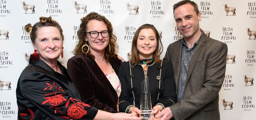 FLOAT LIKE A BUTTERFLY, winner of our 2019 Director's Choice Feature.  Left to right: Production Designer Toma McCullim, Director Carmel Winters, Actor Hazel Doupe and Actor Dara Devaney