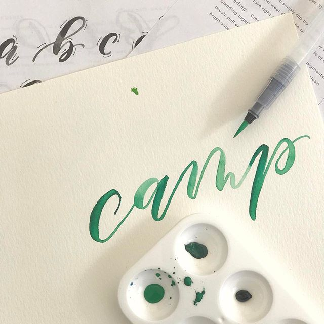 Watercolor lettering with @saffronavenue.  Enough said.  #campwed #happycamper #creativepreneur #weddingindustry #theeverygirl #darlingmovement #calligraphy