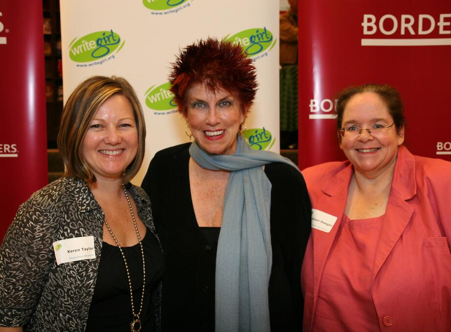 Marcia Wallace (Voice Actor, The Simpsons) was a treasured special guest at many WriteGirl workshops and events. We will miss her deeply. Pictured here with Marcia: Keren Taylor (L) and Alison Deegan (R).