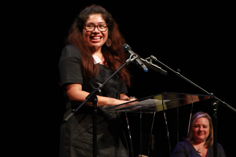 WriteGirl alumna Glenda Garcia, speaking at the 2012 WriteGirl Bold Ink Awards.