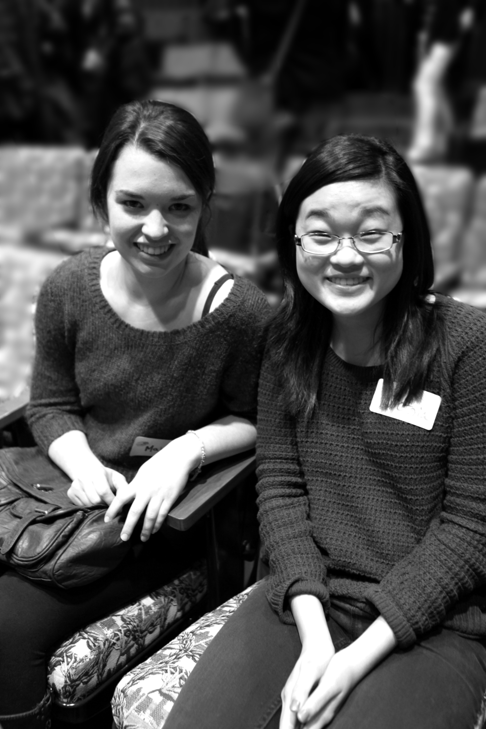 WriteGirl alumnae Majah Carberry and Victoria Tsou, back at a WriteGirl workshop to talk to the high school WriteGirls about what college is like.