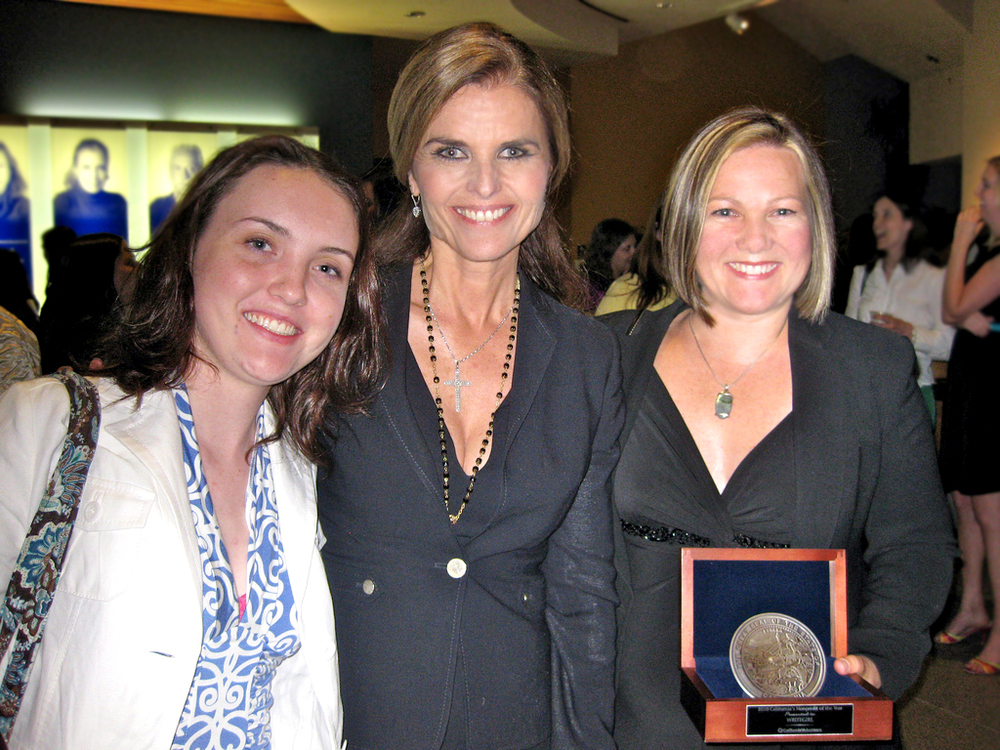 Former WriteGirl Mentee Rachel Hogue, Maria Shriver, and WriteGirl Executive Director Keren Taylor