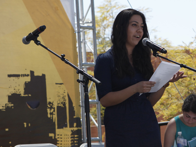Janel Piñeda, 17, giving a public reading in Los Angeles. (Courtesy WriteGirl)