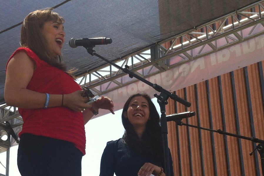 CNN's Elizabeth Espinosa and a WriteGirl Mentee at the Los Angeles Times Book Festival, Spring 2013